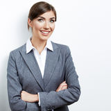 Business woman portrait isolated on white Stock Photos
