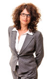 Business woman portrait isolated on white Royalty Free Stock Images