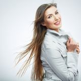 Business woman portrait. Long hair Stock Images