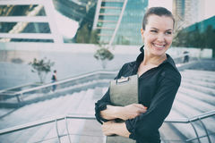 Business woman portrait outdoors Royalty Free Stock Photo