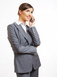 Business woman portrait phone talking. White background isolate Stock Photos