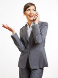 Business woman portrait phone talking. White background isolate Stock Images