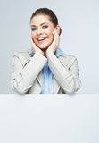 Business woman portrait, white banner background. Stock Photo