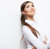 Business woman portrait  on white Royalty Free Stock Photos