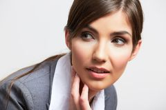 Business woman portrait  on white Royalty Free Stock Images