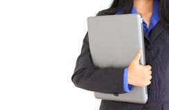 Business woman posing with laptop Royalty Free Stock Photos