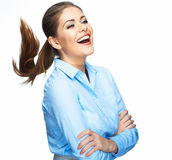 Business woman positive emotion portrait. Long mot Stock Images