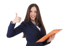 Business woman with positive expression Royalty Free Stock Photo