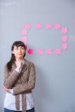 Business Woman Post It Stock Photography