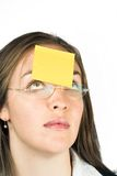 Business woman with post it note Royalty Free Stock Images