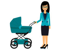 Business woman with a pram Stock Images