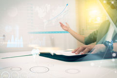 Business woman prepare documents and graph business diagram and Stock Photos
