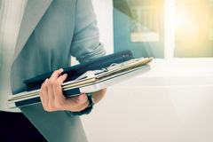 Business woman prepare documents and graph business diagram and Stock Images