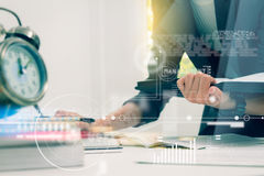 Business woman prepare documents and graph business diagram and Stock Image