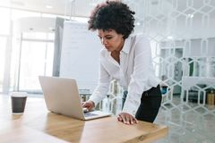 Business woman preparing a presentation in meeting room Royalty Free Stock Image