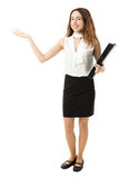 Business woman presenting copy space full body Royalty Free Stock Photos