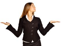 Business woman presenting a copyspace. Stock Photo