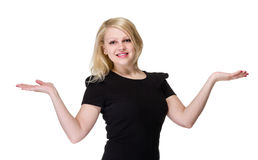 Business woman presenting a copyspace. Isolated on Royalty Free Stock Image