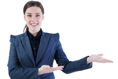 Business woman presenting a copyspace isolated on white background. Open space for advertising Royalty Free Stock Photography