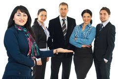 Business woman presenting her team royalty free stock image