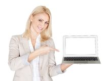 Business woman presenting laptop Royalty Free Stock Photos