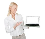 Business woman presenting laptop Royalty Free Stock Images