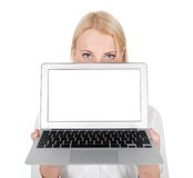 Business woman presenting laptop Royalty Free Stock Image