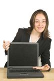 Business woman presenting on laptop Royalty Free Stock Images
