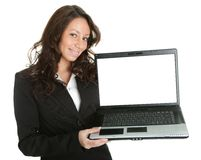 Business woman presenting laptopn Royalty Free Stock Image