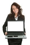Business woman presenting laptopn royalty free stock photography
