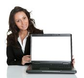 Business woman presenting laptopn Stock Photography