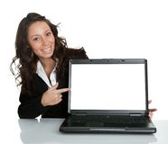 Business woman presenting laptopn Stock Image