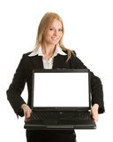 Business woman presenting laptopn Stock Photo