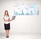 Business woman presenting map with famous cities and landmarks Stock Photography