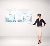 Business woman presenting map with famous cities and landmarks Royalty Free Stock Photography