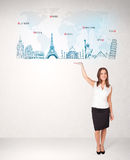 Business woman presenting map with famous cities and landmarks Stock Images