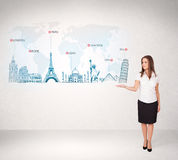 Business woman presenting map with famous cities and landmarks. Concept Stock Photography