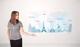 Business woman presenting map with famous cities and landmarks. Concept Stock Image