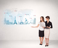 Business woman presenting map with famous cities and landmarks Stock Photos