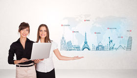 Business woman presenting map with famous cities and landmarks. Business women presenting map with famous cities and landmarks concept Stock Images