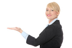 Business woman presenting something Stock Images