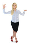 Business woman presenting something. Business woman presenting something Royalty Free Stock Photos