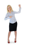Business woman presenting something. Business woman presenting something Royalty Free Stock Images