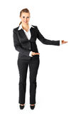 Business woman presenting something on empty hands. Full length portrait of smiling  business woman presenting something on empty hands isolated on white Stock Photo