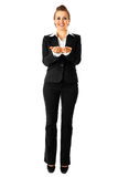 Business woman presenting something on empty hands Royalty Free Stock Image