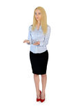 Business woman presenting something. Isolated business woman presenting something Stock Photos