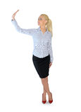 Business woman presenting something. Isolated business woman presenting something Stock Image