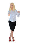 Business woman presenting something. Isolated business woman presenting something Royalty Free Stock Photography