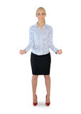 Business woman presenting something. Isolated business woman presenting something Stock Photography