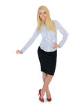 Business woman presenting something. Isolated business woman presenting something Stock Photo